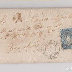 Sellos: CARTA ENTERA DE MANRESA A BARCELONA. 1865. 4 CUARTOS. FECHADOR.. Lote 144744154