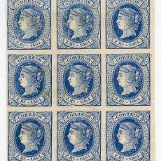 Sellos: BLOQUE DE 9 SELLOS DE 2 REALES DE 1865 (EDIFIL 68) EN NUEVO, CON GOMA ORIGINAL. BORDE HOJA, DERECHA. Lote 144888614