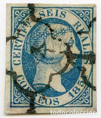 SELLO DE 6 REALES AZUL (EDIFIL 10), OBLITERADO ARAÑA NEGRA. GRANDES MÁRGENES. CERTIFICADO GRAUS. (Sellos - España - Isabel II de 1.850 a 1.869 - Usados)