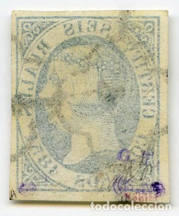 Sellos: Sello de 6 reales azul (Edifil 10), obliterado araña negra. Grandes márgenes. Certificado Graus. - Foto 2 - 144892674
