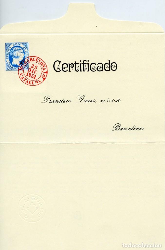 Sellos: Sello de 6 reales azul (Edifil 10), obliterado araña negra. Grandes márgenes. Certificado Graus. - Foto 4 - 144892674