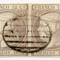 Sellos: PAREJA DE SELLOS DE 12 C GRIS-LILA (EDIFIL 13B). MATASELLOS PARRILLA NEGRO. CERTIFICADO EXFIMA. Lote 144901602