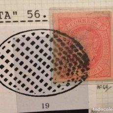 Sellos: BURGOS - MATASELLO REJILLA SOBRE 4 CUARTOS ROJO DE ISABEL II DE 1864 - TAL FOTO. Lote 145002826