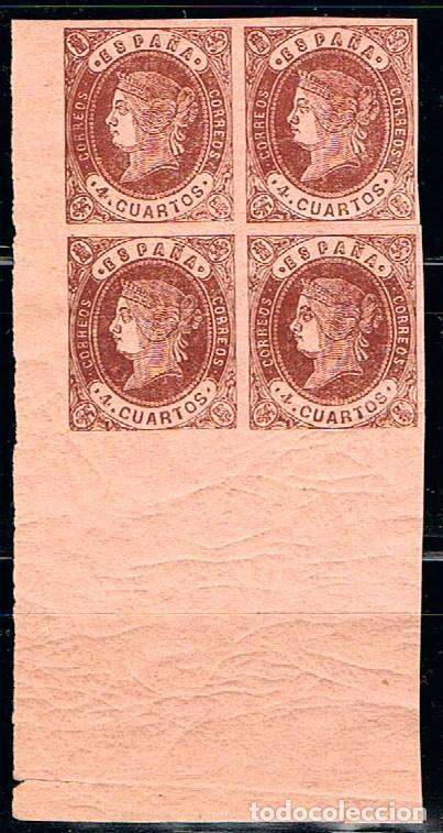 EDIFIL Nº 58 A, ISABEL II, NUEVO EN BLOQUE DE 4, ESQUINA DEL BLOQUE (Sellos - España - Isabel II de 1.850 a 1.869 - Nuevos)