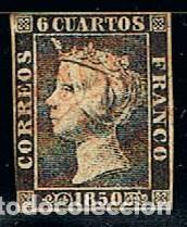EDIFIL Nº 1 A, ISABEL II, USADO, PLANCHA 2. PRIMER SELLO ESPAÑOL (Sellos - España - Isabel II de 1.850 a 1.869 - Usados)