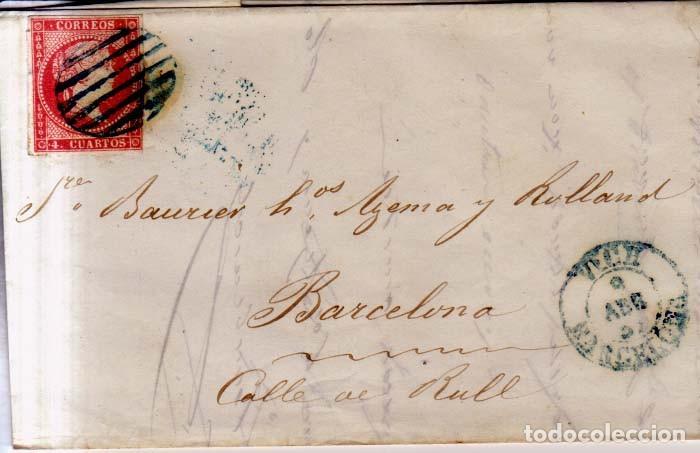 AÑO 1856 CARTA MATASELLOS REJILLA Y AZUL VICH BARCELONA TIPO I (Sellos - España - Isabel II de 1.850 a 1.869 - Cartas)