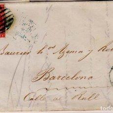 Sellos: AÑO 1856 CARTA MATASELLOS REJILLA Y AZUL VICH BARCELONA TIPO I. Lote 145111338
