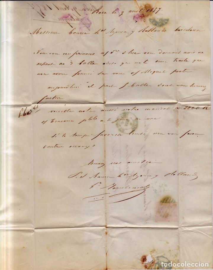 Sellos: Año 1856 carta matasellos rejilla y azul Vich Barcelona tipo I - Foto 2 - 145111338
