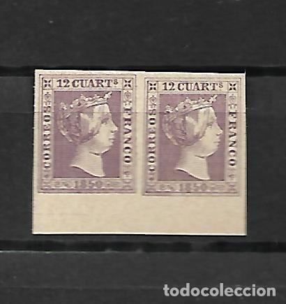 ESPAÑA PAREJA DEL Nº 2 - EL 12 CUARTOS LILA - BORDE DE HOJA DE 1850 - FALSO SEGUI (Sellos - España - Isabel II de 1.850 a 1.869 - Nuevos)