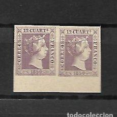 Sellos: ESPAÑA PAREJA DEL Nº 2 - EL 12 CUARTOS LILA - BORDE DE HOJA DE 1850 - FALSO SEGUI. Lote 145192234