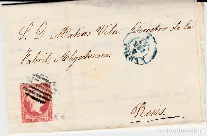 CARTA ENTERA CON NUM. 48 DE DOMINGO TEY EN LLEIDA - 1857 PARRILLA Y FECHADOR AZUL DESTINO REUS (Sellos - España - Isabel II de 1.850 a 1.869 - Cartas)