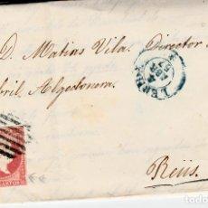 Sellos: CARTA ENTERA CON NUM. 48 DE DOMINGO TEY EN LLEIDA - 1857 PARRILLA Y FECHADOR AZUL DESTINO REUS. Lote 145411374