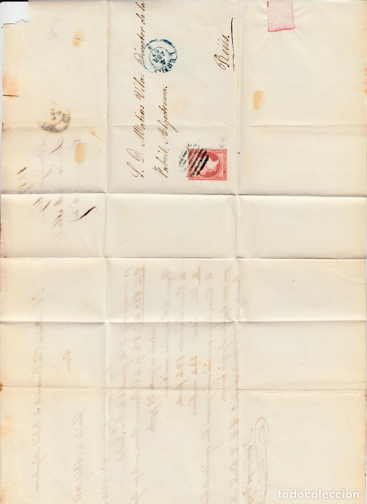 Sellos: CARTA ENTERA CON NUM. 48 DE DOMINGO TEY EN LLEIDA - 1857 PARRILLA Y FECHADOR AZUL DESTINO REUS - Foto 2 - 145411374