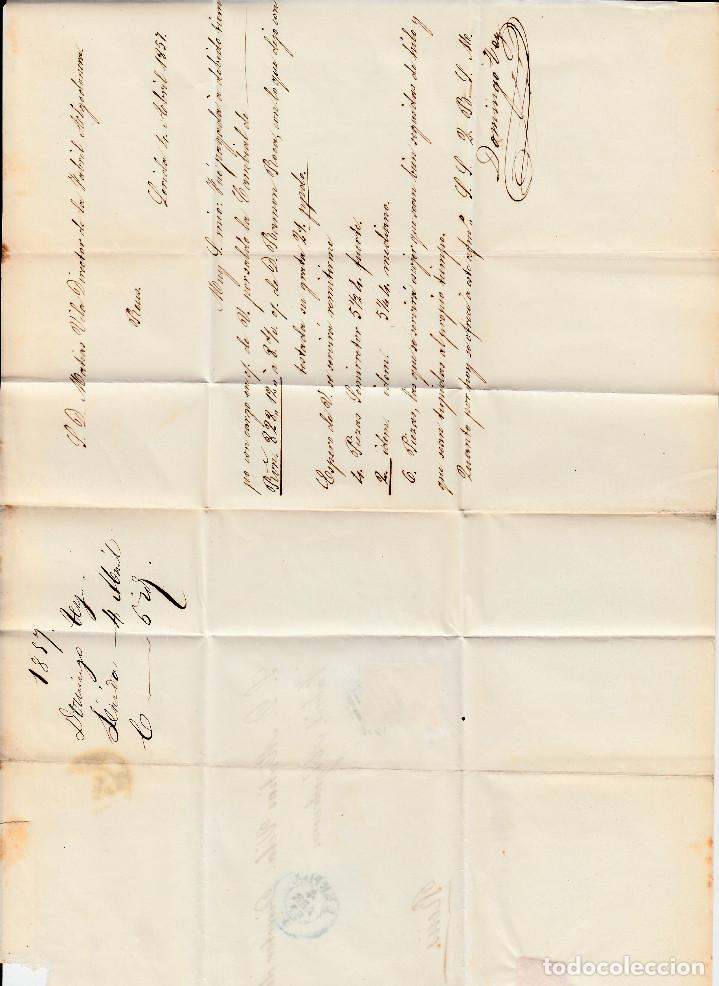 Sellos: CARTA ENTERA CON NUM. 48 DE DOMINGO TEY EN LLEIDA - 1857 PARRILLA Y FECHADOR AZUL DESTINO REUS - Foto 3 - 145411374