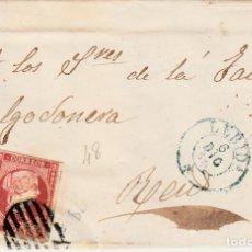 Sellos: CARTA ENTERA CON NUM. 48 DE MAGIN LLORENS EN LLEIDA - 1856 PARRILLA Y FECHADOR AZULES DESTINO REUS. Lote 145411518