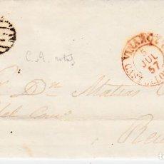 Sellos: CARTA ENTERA CON NUM. 48 DE TERESA VIDAL EN VINAROS -CASTELLÓN- -1857 - PARRILLA Y FECHADOR ROJO. Lote 145412038