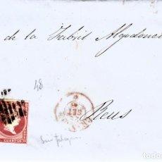 Sellos: CARTA ENTERA CON NUM. 48 DE PEDRO ROGES EN GRANADA -1856 - PARRILLA Y FECHADOR ROJO. Lote 145412242