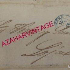 Sellos: CARTA CIRCULADA DESDE SANTA FE A LOJA,1856, SIN FRANQUEAR, FECHADOR OSUNA, PORTEO 8, AZUL. Lote 145568314