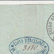 Sellos: 1859 SELLO FISCAL POLIZA 4º 40 MRS COMPLETO CON SU SELLO EN SECO 118 X 4,5 CM. SEGUROS MARITIMOS. Lote 146010558