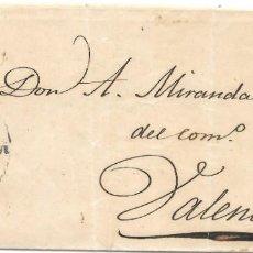Sellos: EDIFIL 52. ENVUELTA CIRCULADA DE ZARAGOZA A VALENCIA. 1861. Lote 146020914