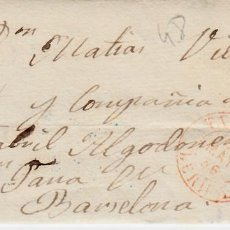 Sellos: CARTA CON SELLO NUM 48 DE RAMON LLORT EN TARREGA - LLEIDA- 1856- FECHADOR ROJO Y PARRILLA. Lote 146305978