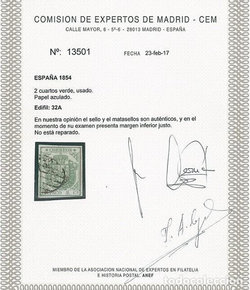 Sellos: EDIFIL 32A.ESCUDO DE ESPAÑA.CERTIFICADO CEM. CATÁLOGO 2.850€ - Foto 3 - 146423570