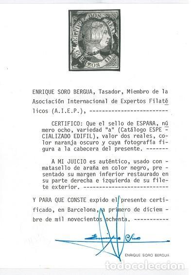 Sellos: EDIFIL 8.ISABEL II 2 R. ROJO.CERTIFICADO SORO.CATÁLOGO 15.600€ - Foto 3 - 146442822