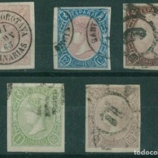 Sellos: EDIFIL 69/73. ISABEL II SERIE COMPLETA SIN DENTAR.VALOR CLAVE MARQUILLA ROIG.CATÁLOGO 1.300€. Lote 146560418