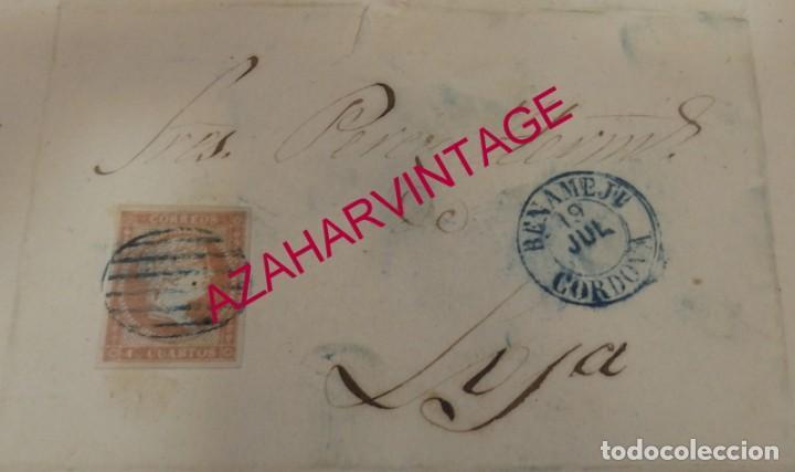 CARTA ENTRE BENAMEJI Y LOJA, 1858, FECHADOR AZUL BENAMEJI, CORDOVA, MUY RARA, TOP (Sellos - España - Isabel II de 1.850 a 1.869 - Cartas)