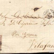Sellos: AÑO 1868 CARTA A VILAFANT MATASELLOS REJILLA CIFRA 2 BARCELONA . Lote 146619302