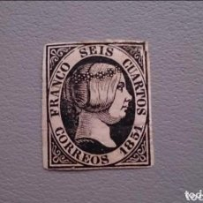Sellos: ESPAÑA - 1851 - ISABEL II - EDIFIL 6 - MH* - NUEVO - AUTENTICO - LUJO - VALOR CATALOGO 375€.. Lote 147089990
