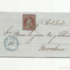 Sellos: ENVUELTA CIRCULADA 1856 DE TRUJILLO CACERES A BARCELONA FECHADOR LLEGADA EDIFIL 40. Lote 147382722