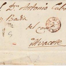 Sellos: CARTA SIN SELLO 1854- DE JUAN JOSE ... DE SAN CLEMENTE - CUENCA A ALBACETE . Lote 147717322