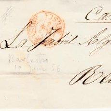 Sellos: CARTA CON SELLO NUM 44 DE CASIMIRO GABÁS EN BARBASTRO - HUESCA- 1856 FECHADOR ROJO Y PARRILLA. Lote 147718258