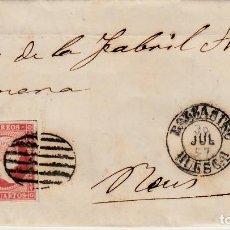 Sellos: CARTA CON SELLO NUM 48 DE SERVANDO LATORRE EN BARBASTRO - HUESCA- 1857 FECHADOR NEGRO Y PARRILLA. Lote 147718586