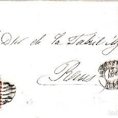 Sellos: CARTA CON SELLO NUM 48 DE IGNACIO MARRO EN BARBASTRO - HUESCA- 1857 FECHADOR NEGRO Y PARRILLA. Lote 147718950