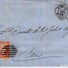 Sellos: CARTA CON SELLO NUM 48 DE MARIANO MARRO EN BARBASTRO - HUESCA- 1858 FECHADOR NEGRO Y PARRILLA. Lote 147719398