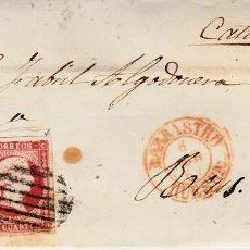 Sellos: CARTA CON SELLO NUM 48 DE CASIMIRO GABAS EN BARBASTRO - HUESCA- 1857 FECHADOR ROJO Y PARRILLA. Lote 147719882