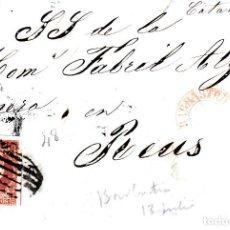 Sellos: CARTA CON SELLO NUM 48 DE VICENTE MARRO EN BARBASTRO - HUESCA- 1856 FECHADOR ROJO Y PARRILLA. Lote 147720306