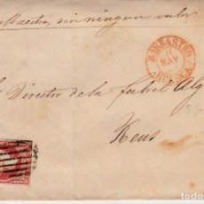Sellos: CARTA CON SELLO NUM 48 DE JOAQUIN MEDIANO EN BARBASTRO - HUESCA- 1857 FECHADOR ROJO Y PARRILLA. Lote 147720798