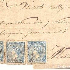 Sellos: AÑO 1865 EDIFIL 81 ISABEL II 3 SELLOS FRONTAL DIRIGIDO A MADRID . Lote 148017926
