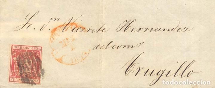 AÑO 1854 EDIFIL 24 ESCUDO FRONTAL MADID DIRIGIDO A TRUJILLO (Sellos - España - Isabel II de 1.850 a 1.869 - Cartas)