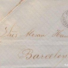 Sellos: CARTA COMPLETA ISABEL II 1861 CUEVAS DE VERA (ALMERÍA) A BARCELONA FECHADOR HISTORIA POSTAL. Lote 148251170