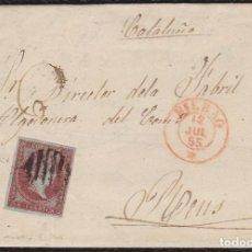 Sellos: 1855. BILBAO A REUS. 4 CUARTOS ED. 40 MAT. PARRILLA NEGRA. FECHADOR TIPO I BILBAO ROJO. . Lote 148472430