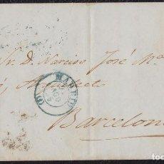 Sellos: 1855. MADRID A BARCELONA. 4 CUARTOS ED. 40 MAT. PARRILLA NEGRO. FECHADOR TIPO AZUL. RARA.. Lote 148625950