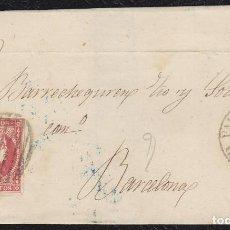 Sellos: 1857. VALENCIA DE ALCÁNTARA A BARCELONA. 4 CUARTOS. ED. 48 MAT. PARRILLA NEGRA. FECHADOR TIPO I.. Lote 148664386