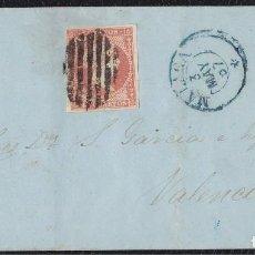 Sellos: 1857. MALAGA A VALENCIA. 4 CUARTOS ED. 48 MAT. PARRILLA ESPECIAL GRUESA. FECHADOR TIPO I AZUL.. Lote 148728790