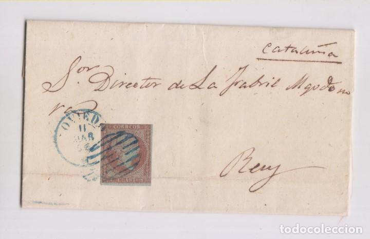 CARTA ENTERA. DE OVIEDO, ASTURIAS, A REUS. 1856. PARRILLA AZUL (Sellos - España - Isabel II de 1.850 a 1.869 - Cartas)