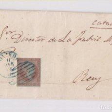Sellos: CARTA ENTERA. DE OVIEDO, ASTURIAS, A REUS. 1856. PARRILLA AZUL. Lote 149400174