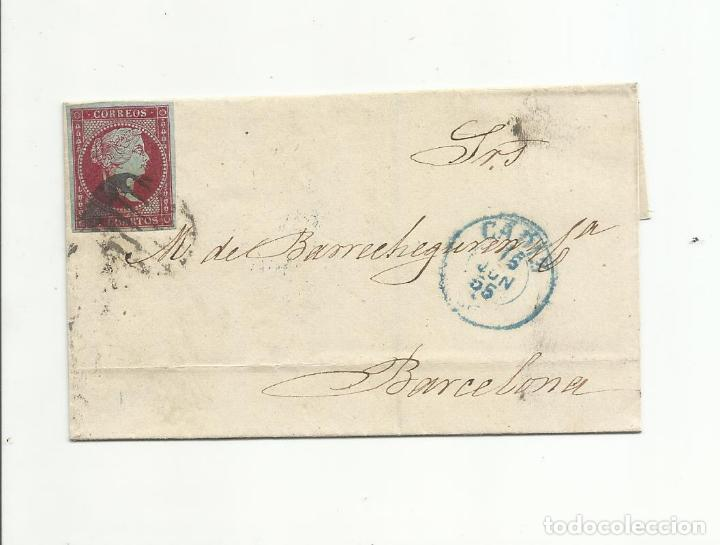 ENVUELTA CIRCULADA 1855 DE CADIZ A BARCELONA EDIFIL 40 CON FECHADOR LLEGADA (Sellos - España - Isabel II de 1.850 a 1.869 - Cartas)